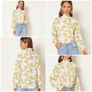 Yellow Floral Frill Neck Blouse ( XL)